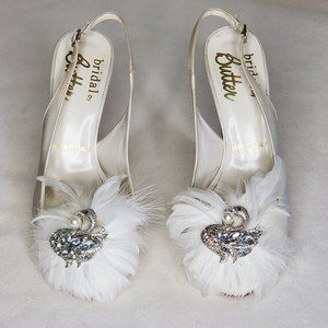 Satin Feather and Bejeweled Bridal Heels 8 EUC